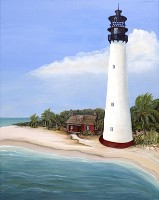 Cape Florida Lighthouse No. 1 by the American Nature Painter, Judith A. Maddox Saylor at JAMS Artworks of Key Biscayne, Florida and Linwood, NJ.