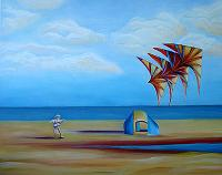 Crandon Park Kite Flyer,a painting by American Nature Painter, Judith A. Maddox Saylor at JAMS Artworks.