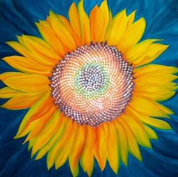 Fibonacci Sunflower, No. 1, Fibonacci Sunflower Series, American Nature Painter Judith Saylor